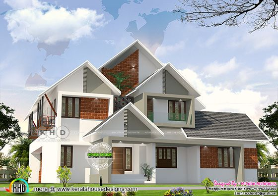 3d rendering 6 bedroom house architecture