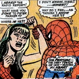 Amazing Spider-Man #57, don heck, john romita, spider-man grips gwen stacy's wrists as she tries to hit him, fearful about peter parker's disappearance