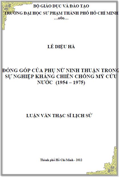 Đóng góp của phụ nữ Ninh Thuận trong cuộc kháng chiến chống Mỹ cứu nước (1954 – 1975)