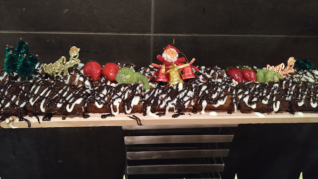 Decorated plum cake in Hotels buffet