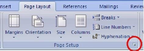 cara membuka dialog page setup