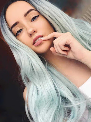 Pastel Green Ombre Wavy Synthetic Wigs