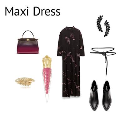 Stylizacja z maxi sukienką w kwiaty Zara