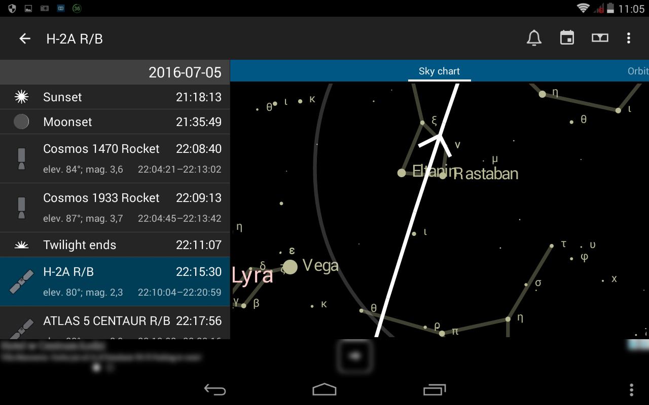 4. Lista wydarzeń - wybór satelity H-2A RB i demonstracja dokładnej trajektorii na tle gwiazd