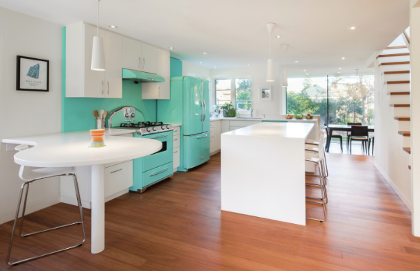 The retro-style kitchen features vintage