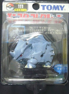 Rhyhorn Pokemon figure Tomy Monster Collection black package series