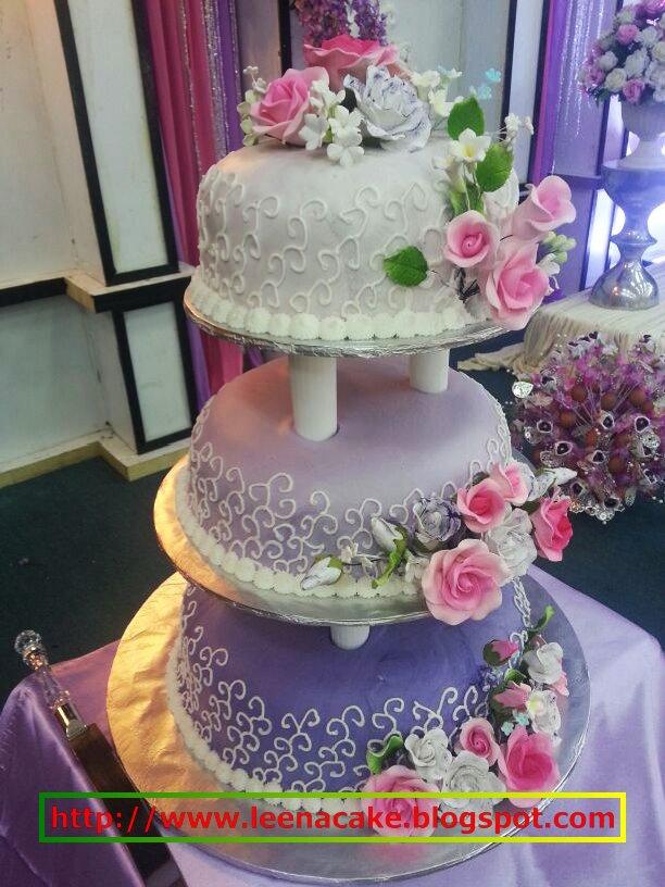 Leena Cake Creations Purple Theme 3 Tier Steam Buttercream
