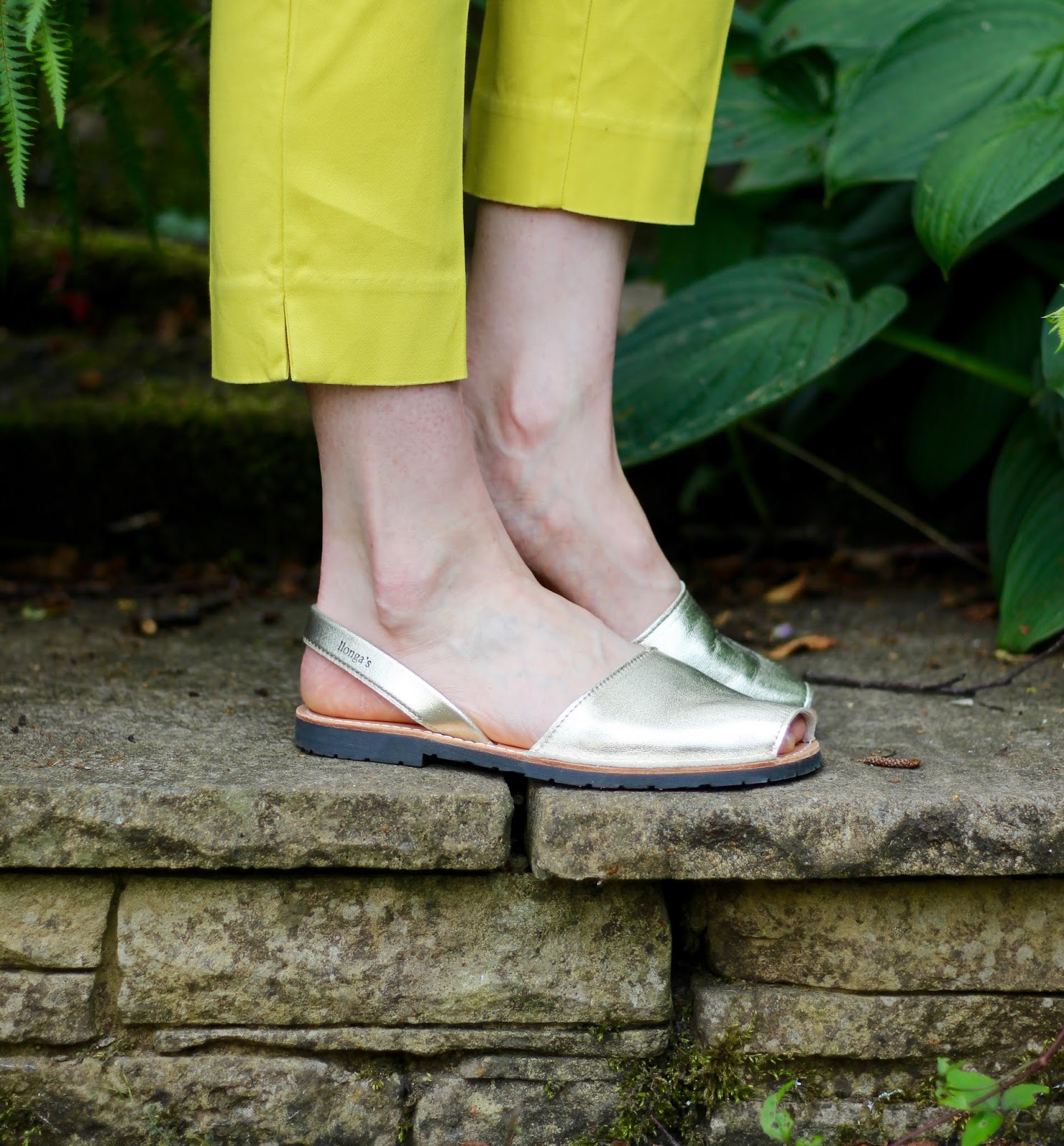 Yellow Trousers and Minorcan sandals | Fake Fabulous