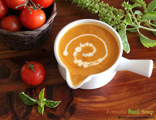 images of Tomato Basil Soup / Creamy Tomato Basil Soup / Rich and Creamy Tomato Basil Soup Recipe- Healthy Soup Recipes