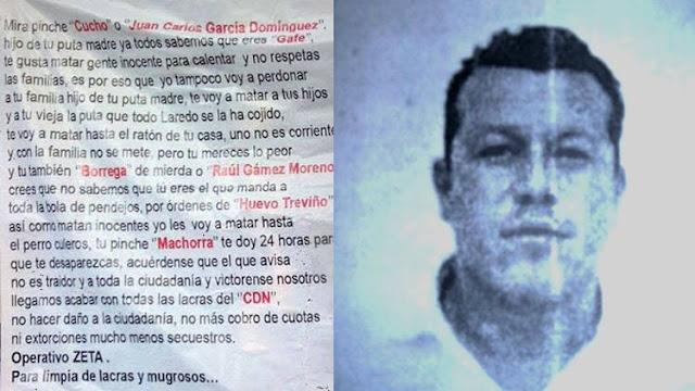"""En Narcomanta Zetas amenazan a GAFE del CDN """"Con la familia no se mete, te voy a matar  a tus hijos"""""""