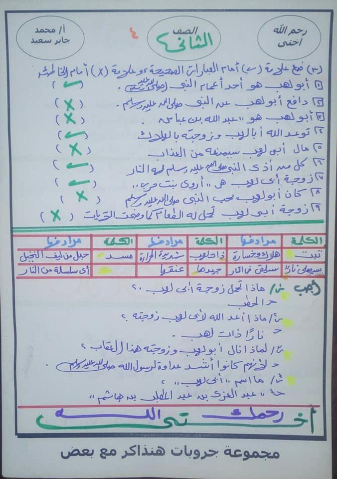 مراجعة التربية الدينية للصف الثاني الابتدائي ترم ثاني أ. محمد جابر 10