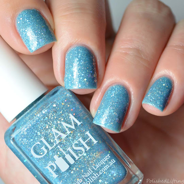 blue holographic nail polish