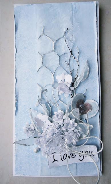 scrapbooking, kartka handmade przyprószona śniegiem