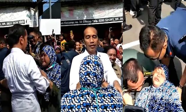 Ibu Ini Pingsan Pas Tatap Muka dengan Jokowi