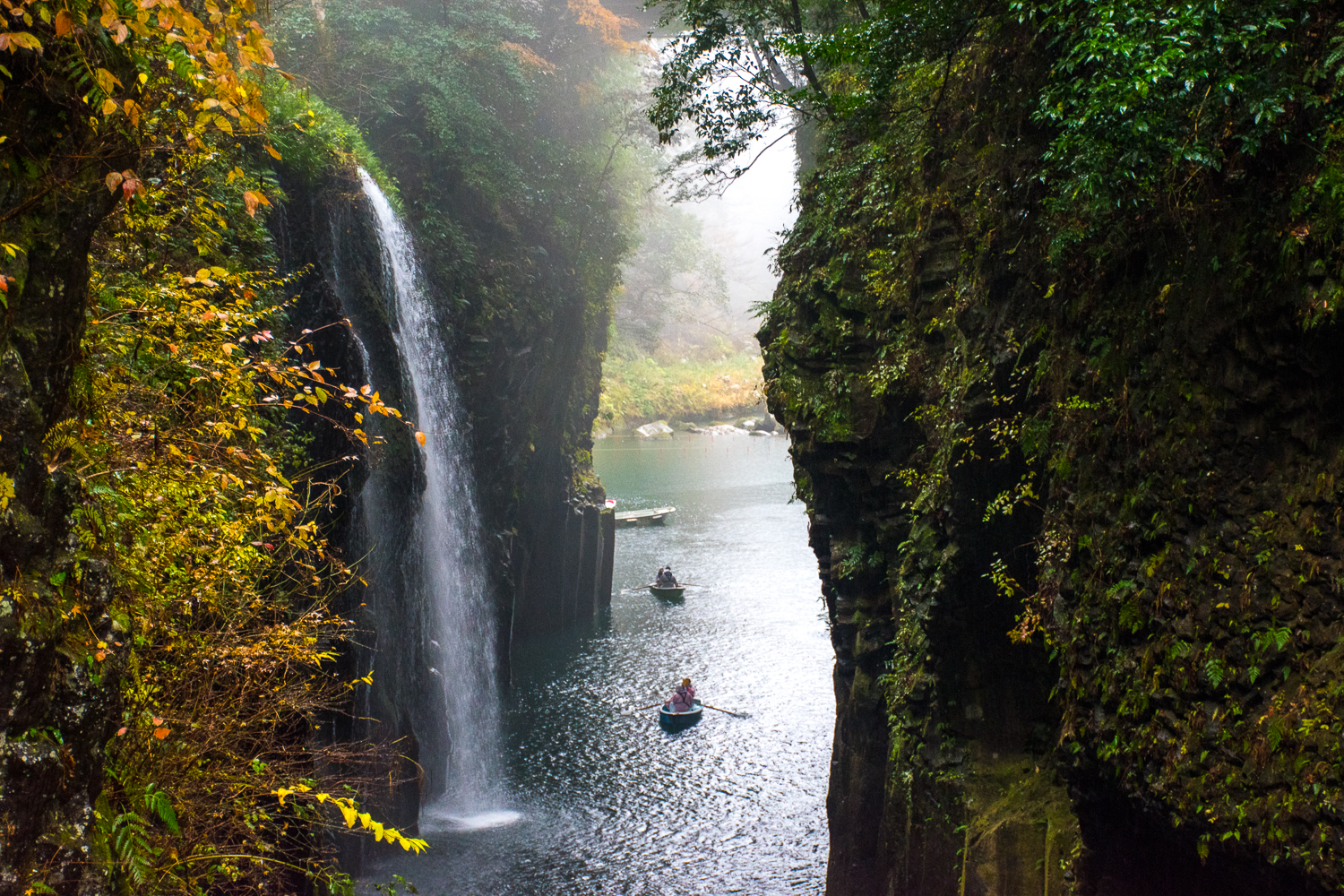 waterfall and boat rowing takachiho gorge japan