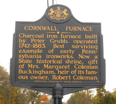 Cornwall Iron Furnace Historical Marker in Cornwall Pennsylvania