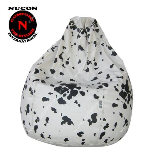 Black in white artificial leather bean bag seat
