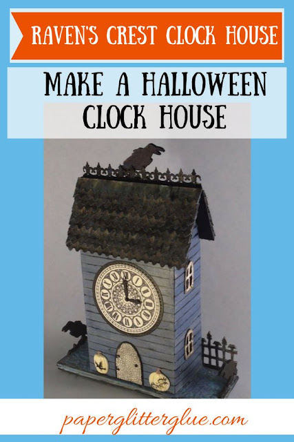 Raven's Crest Clock House Halloween Wall Hanging #halloween #papercraft #wallhanging