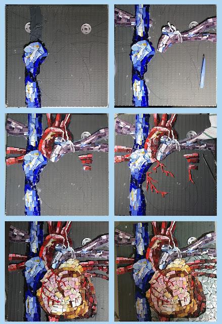 anatomical heart art glass Sharon Warren artist progress smalti mosaic orsoni italian