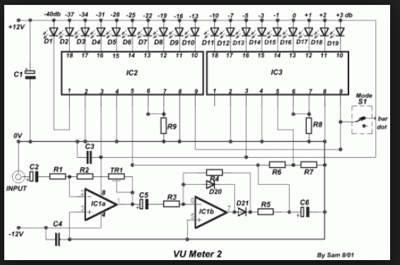 Wiring Schematic Diagram: 19 LED Bar/Dot VU Meter Using ... on generator schematic, compressor schematic, ph meter schematic, oscilloscope schematic, tone control schematic, transistor tester schematic, mixer schematic, multimeter schematic, voltmeter schematic, sensor schematic, lc meter schematic, capacitance meter schematic, amplifier schematic, analog meter schematic, lcd schematic, distortion schematic, lm3915 schematic, variac schematic, led schematic, current transformer schematic,
