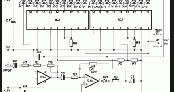 Wiring Schematic Diagram: 19 LED Bar/Dot VU Meter Using