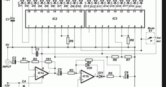Wiring Schematic Diagram: 19 LED Bar/Dot VU Meter Using