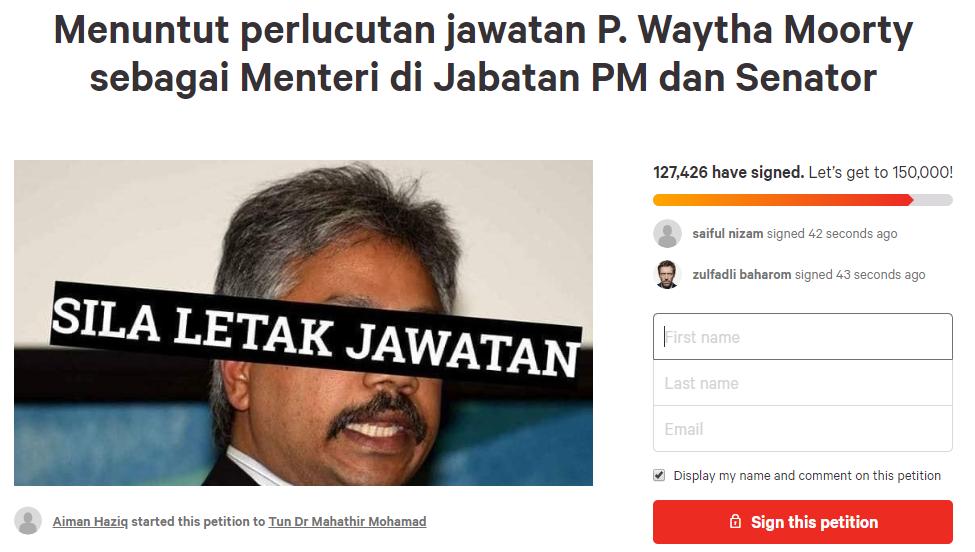 petisyen tuntut waytha moorthy letak jawatan