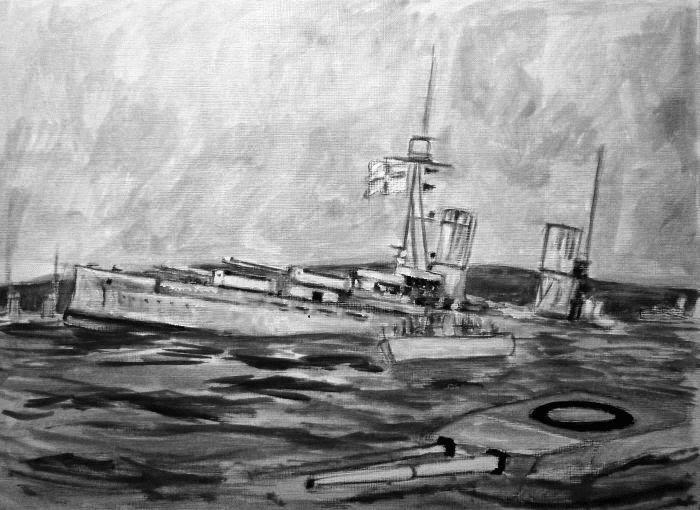Boceto de pintura hyndimiento Scapa Flow 6