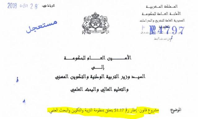 مشروع قانون يتعلق بمنظومة التربية و التكوين و البحث العلمي