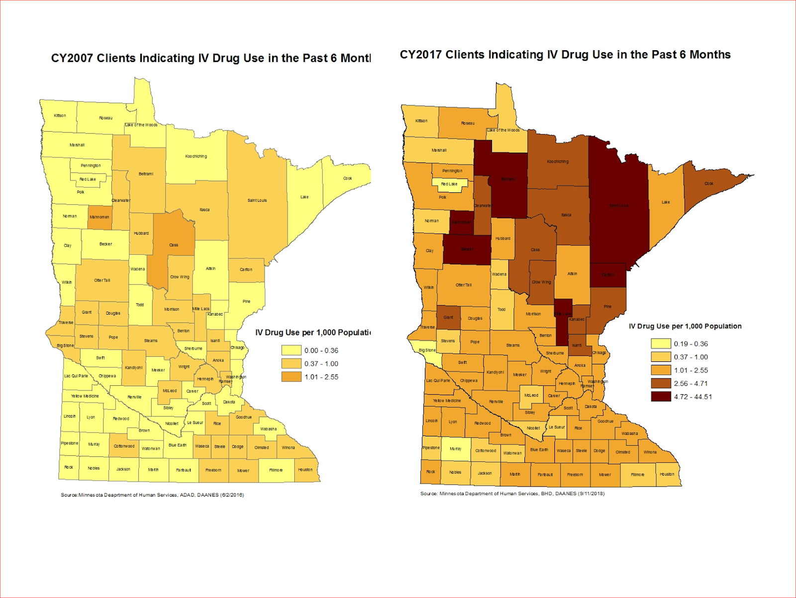 these maps are county by county density plots of the rate of admissions from a particular county comparing 2007 to 2017 there are certainly limitations