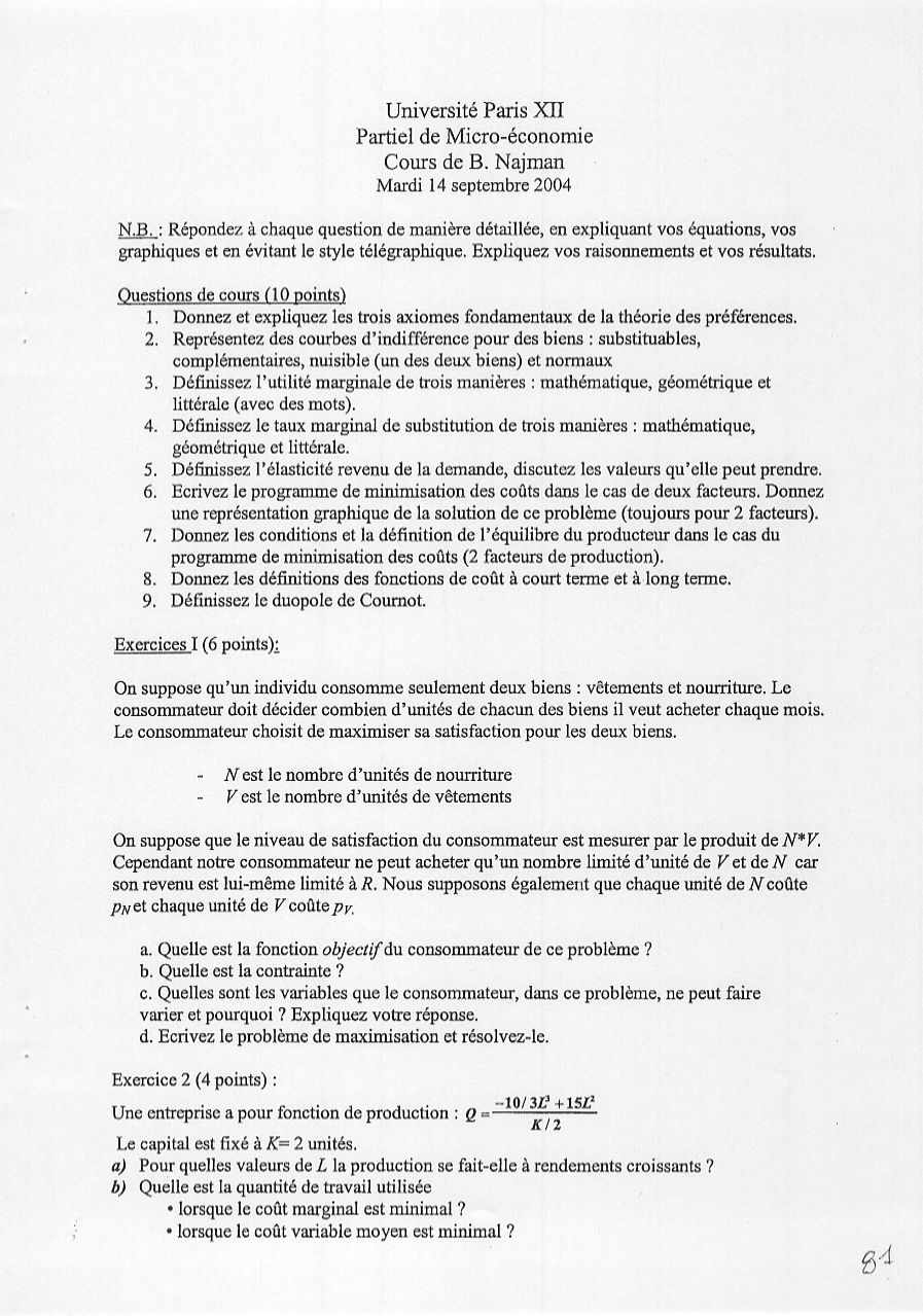 Examen de Microéconomie - Sciences Economiques et de Gestion - Université Paris