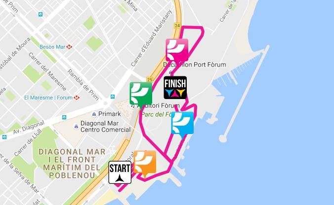 Mapa del recorrido de 5km The Color Run