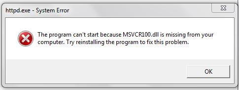 Masalah MSVCR100.DLL