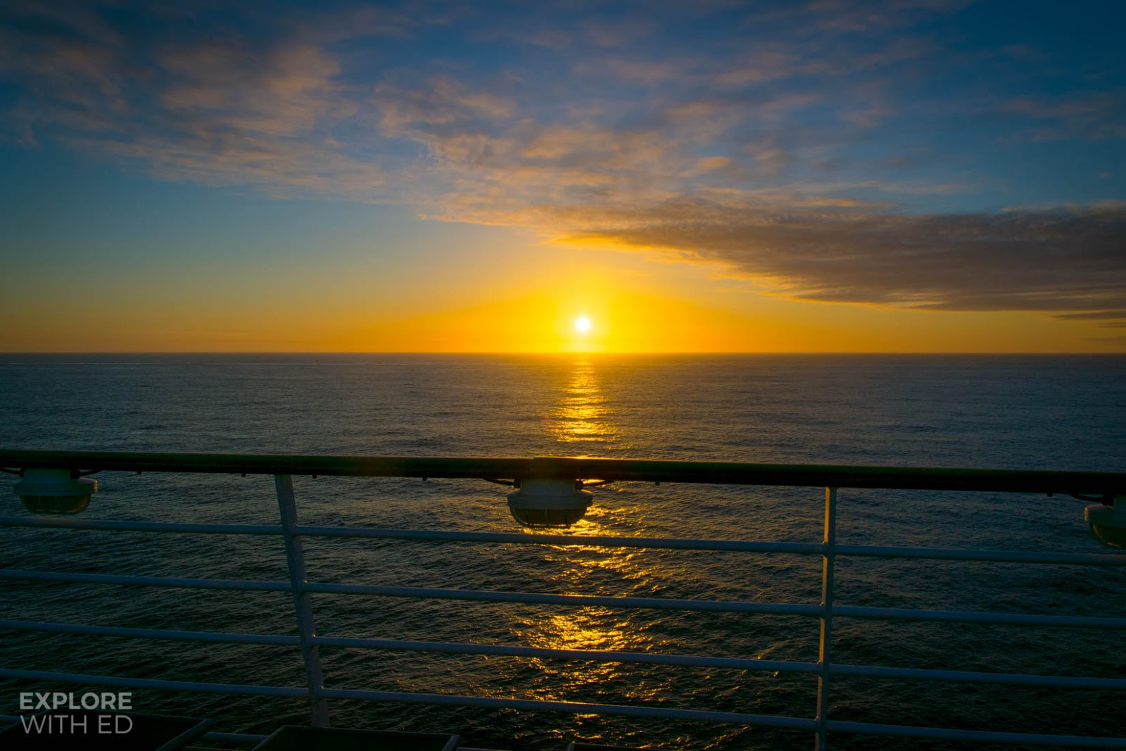 Sunset onboard a cruise ship