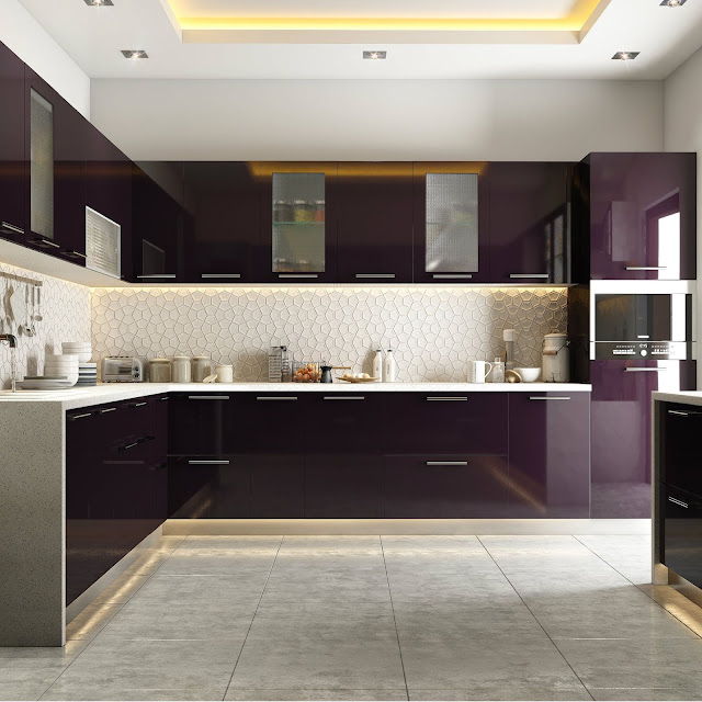 Purple Modular Kitchen