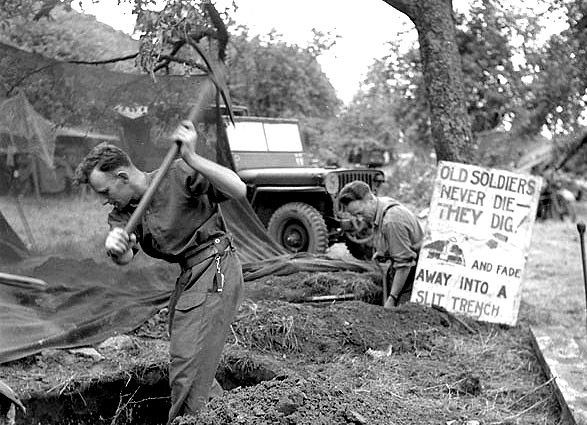 Historical Photos Ww2 1942 Trench Digging Funny Sign