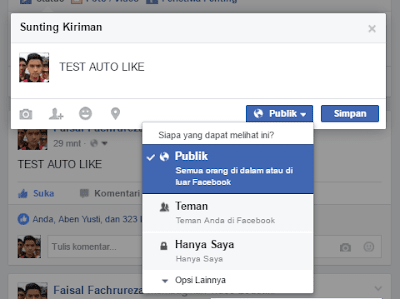 setting privasi status facebook