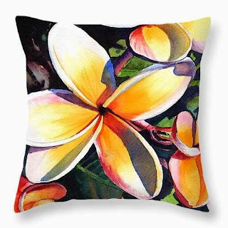 Kauai Rainbow Plumeria Throw Pillow