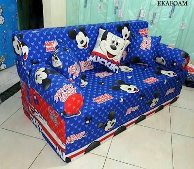 SOFA BED INOAC MOTIF MICKEY MOUSE BIRU POSISI SOFA INOAC