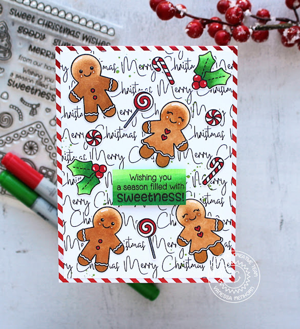 Sunny Studio Stamps: Jolly Gingerbread Script Background Sweet Christmas Card by Vanessa Menhorn