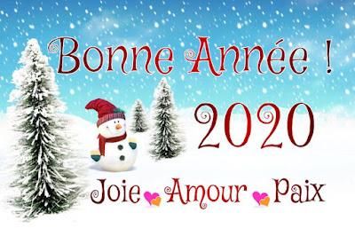 Carte de Paix, joie et amour pour souhaiter la bonne année 2020