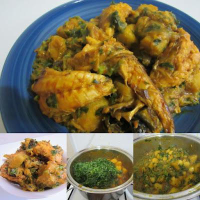 Yam porridge with green vegetables