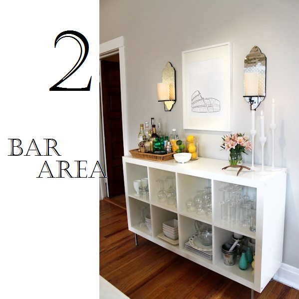 Style a low bookcase into a bar area.
