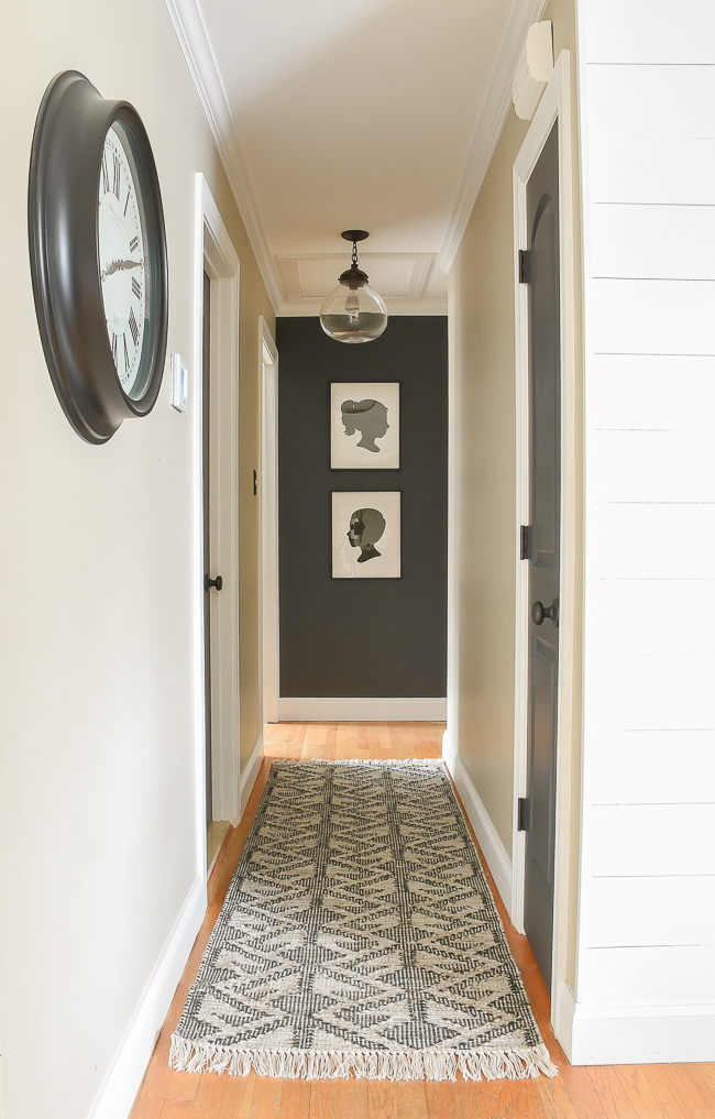 Sherwin-Williams Iron Ore painted hallway