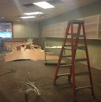The circulation desk has been removed.