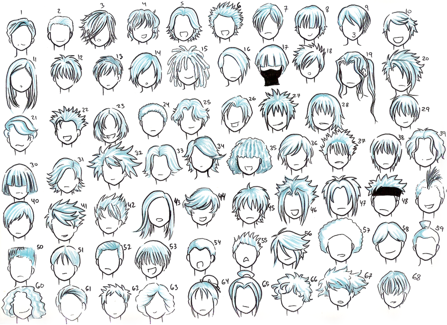 Hair Style References: Como Desenhar Mangá: Gabaritos De Cabelos
