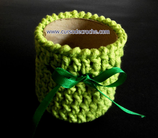 Croche tubular vasos no curso de croche gratis para iniciantes passo a passo com EdinirCroche