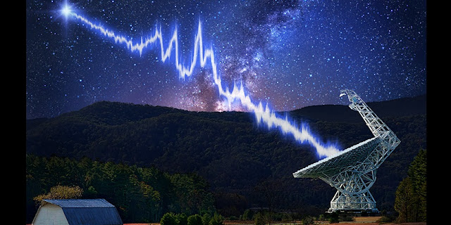 The fast radio burst FRB 121102 was detected by a new recording system developed by the Breakthrough Listen project and mounted on the 100-meter Green Bank Telescope in West Virginia. The burst's multiple bright peaks may be created by the burst emission process itself or imparted by the intervening plasma near the source. (Image design by Danielle Futselaar)