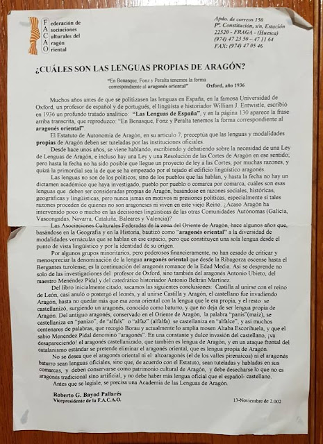 Roberto Bayod, lenguas, Aragón