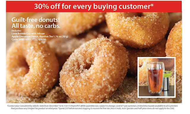 December Customer Special: 30% off for every buying customer. Guilt-free donuts! All taste, no carbs.